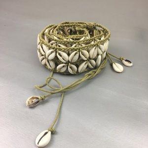 cowrie shell rope tie waist belt